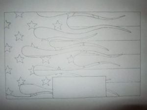 Concrete Mystique Engraving: Draw with flag
