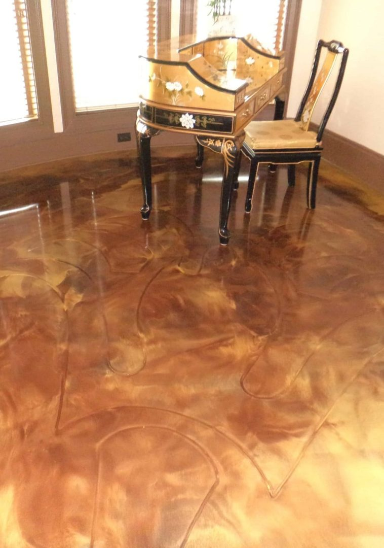 Honey metallic epoxy floor bedroom in Nashville