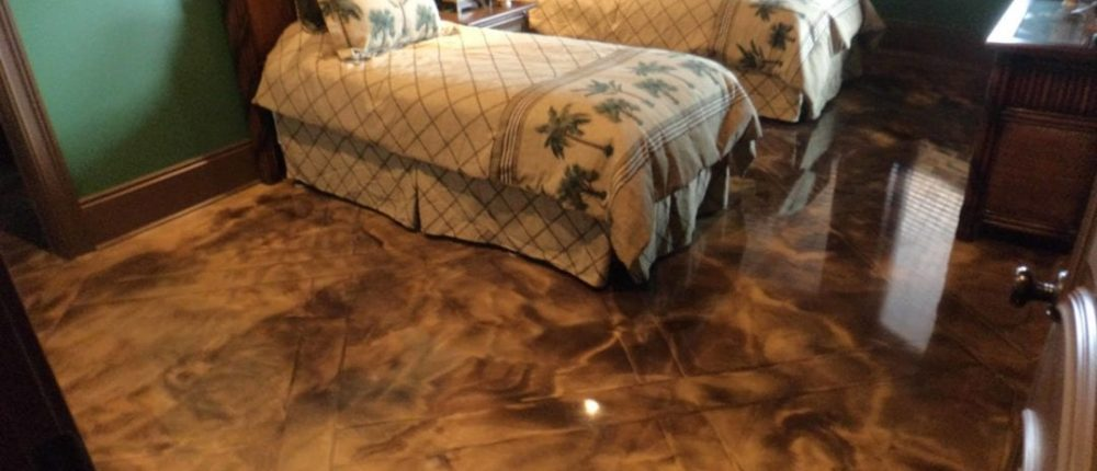 Amber Brown Marbled Metallic Epoxy by Concrete Mystique Engraving