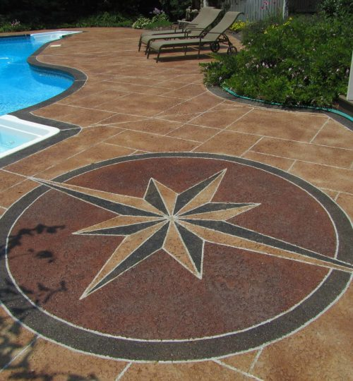 Compass engraving & staining around pool deck