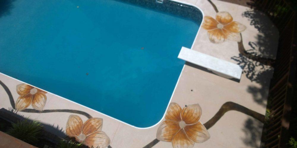 Flower engraving around pool deck 2