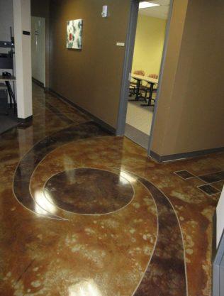 Geometric Circle Design in Office Floors - Concrete Mystique