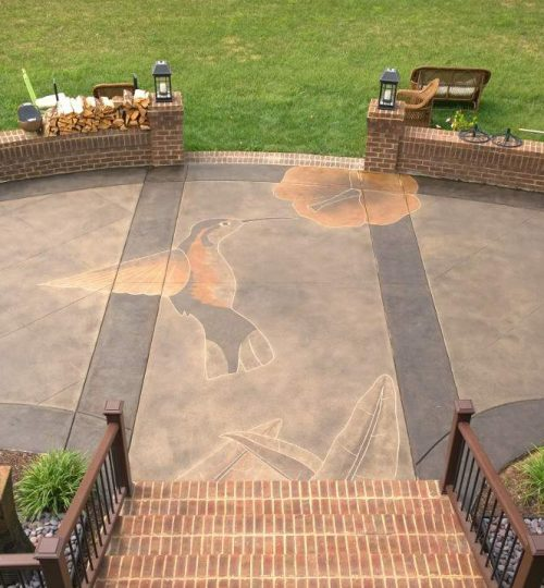 Humming Bird Engraved on Concrete Patio - Nashville TN