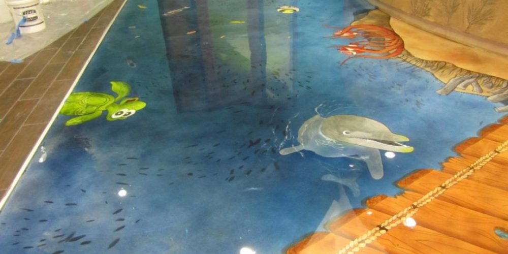 Sea life concrete floor design by Concrete Mystique Engraving
