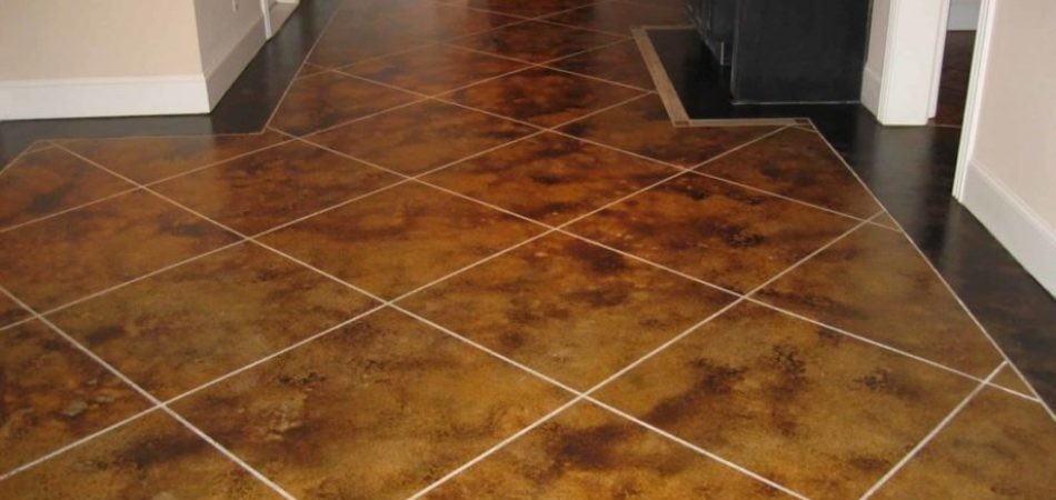 Stained Concrete Floor - Tile Design